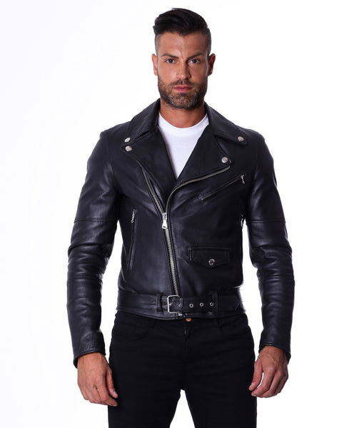 Men's Leather Biker Jacket belted black Perfecto | Made In Italy - Epethiya