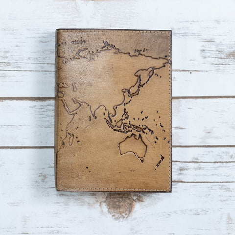 Refillable World Map Handmade Leather Journal - Epethiya