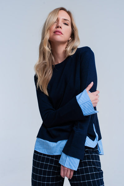 Navy 2 in 1 knitted sweater with stripe detail - Epethiya