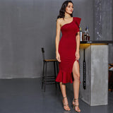 Burgundy One Shoulder Fishtail Flounce Midi Dress - Epethiya