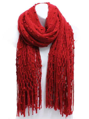 Burgundy Red Winter Knit Fish Net Weave Oblong Scarf with Fringe - Epethiya