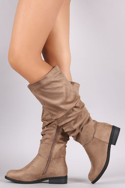 Slouchy Suede Riding Knee High Boots - ePethiya