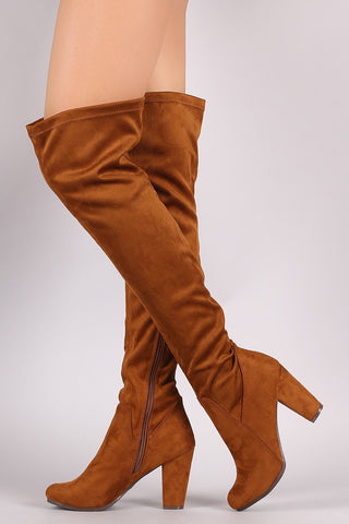 Breckelle Suede Fitted Chunky Heel OTK Boots - Epethiya