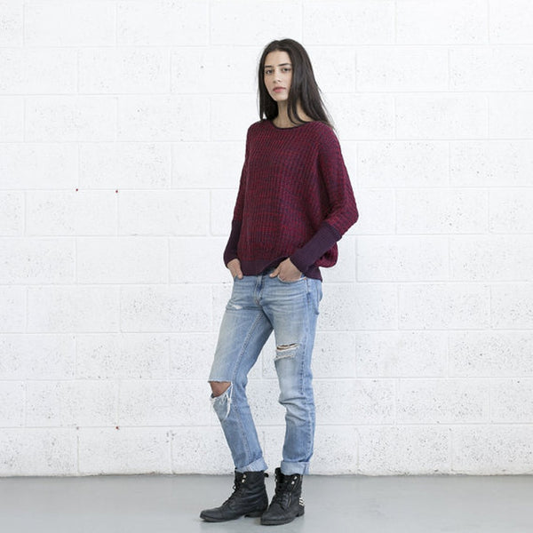 Multi colored sweater - Red Purple. - ePethiya