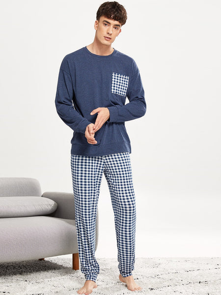 Men Gingham Print Pajama Set - Epethiya