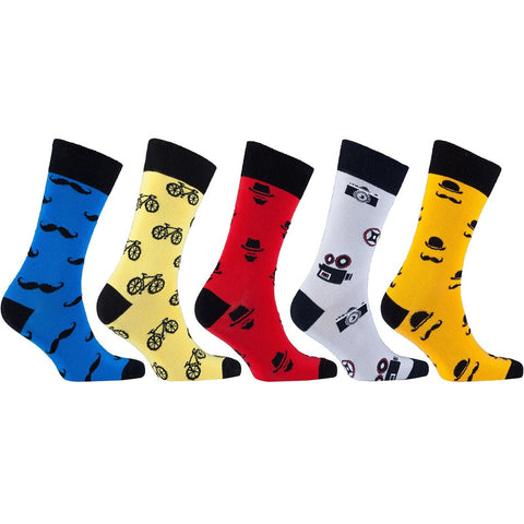 Men's 5-Pair Funky-Hipster-Bicycle-Mustache Socks