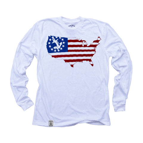 USA Silhouette Yacht Ensign: Organic Fine Jersey Long Sleeve T-Shirt in White - Epethiya