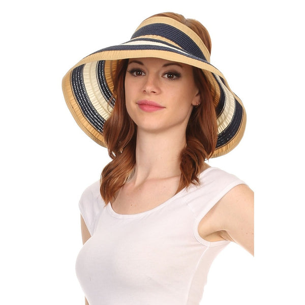 Wide Striped Roll Up Packable Hat - Epethiya