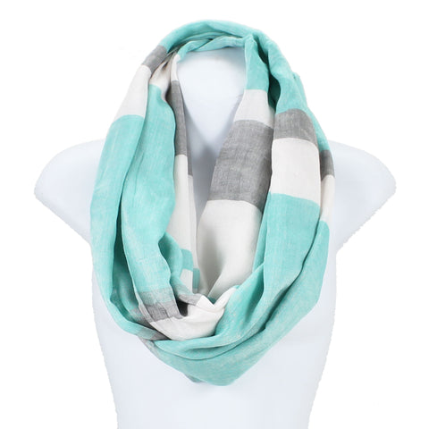 Colorblock Stripe Wide Infinity Scarf Lightweight - Epethiya
