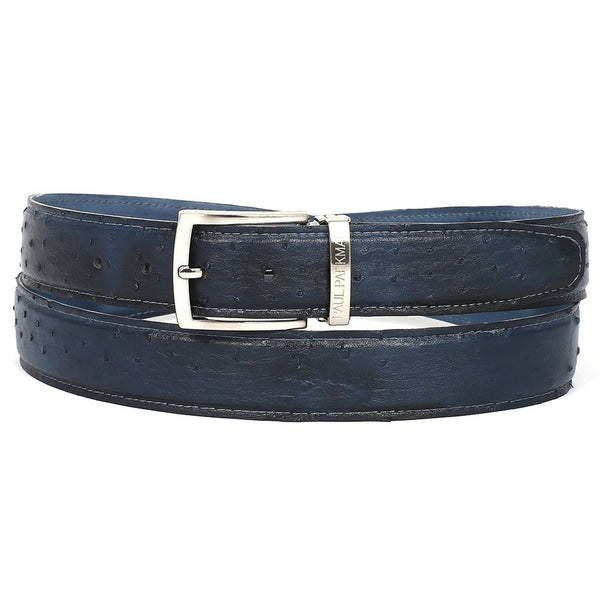 PAUL PARKMAN Men's Navy Genuine Ostrich Belt (ID#B04-NVY) - Epethiya