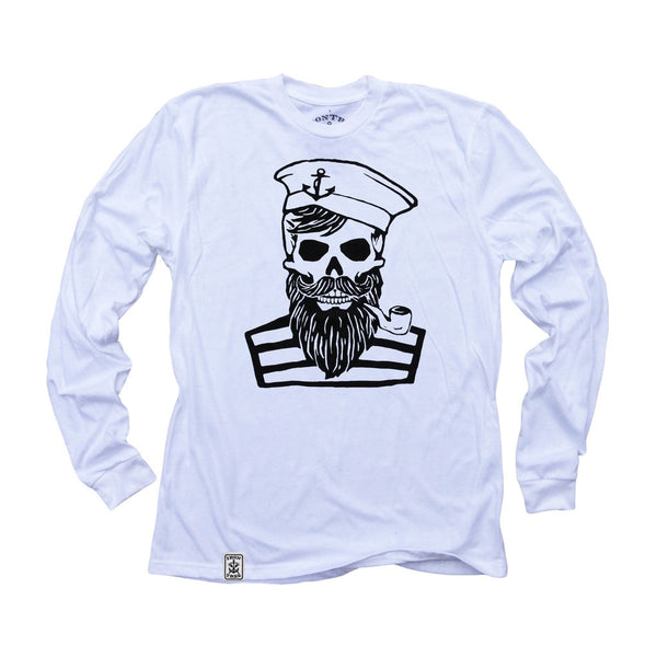 Blackbeard's Ghost: Organic Fine Jersey Long Sleeve T-Shirt in White - Epethiya