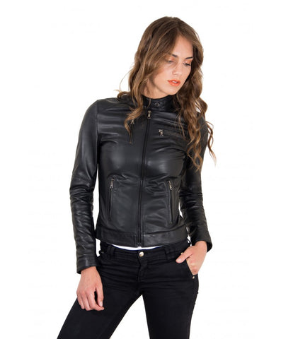 Women's Leather Jacket genuine soft leather biker korean collar black color Giulia - Epethiya
