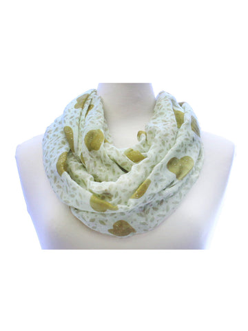 Olive Green Glitter Heart Wide Infinity Scarf Lightweight - Epethiya