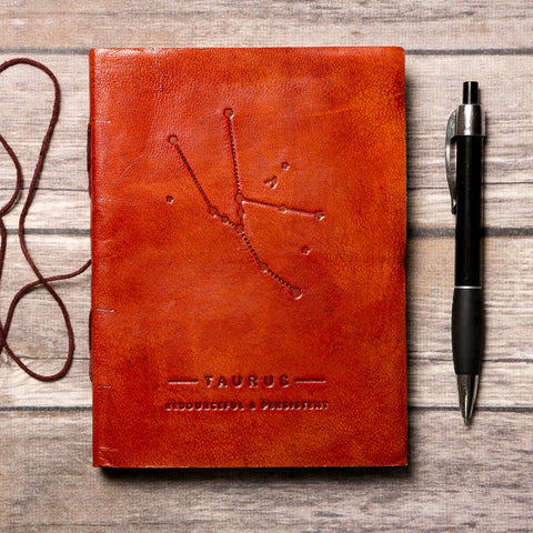Taurus Zodiac Handmade Leather Journal - Epethiya