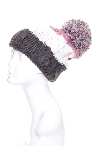Big Pom Pom Beanie Hat Colorblock Lined - Epethiya