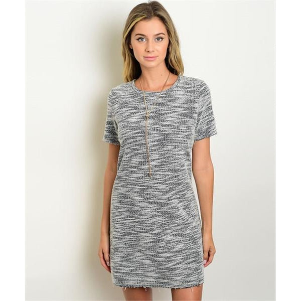 Women's Dress Grey And White Shift Mini Dress - Epethiya