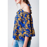 Yellow stripe tie top in floral print