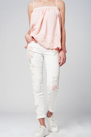 White skinny jeans with embroidered flowers - Epethiya