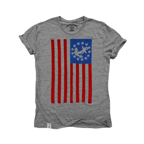 USA Yacht Ensign: Tri-Blend Short Sleeve T-Shirt in Tri Vintage Grey - Epethiya