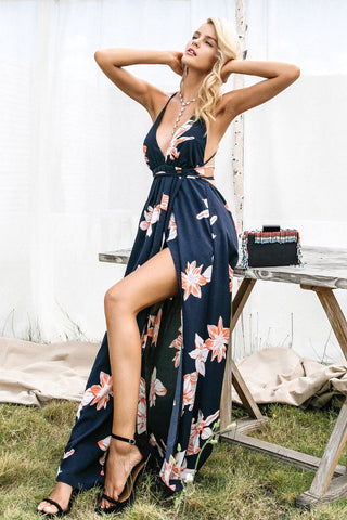 Boho Deep V-neck Sleeveless Maxi Dress - Epethiya
