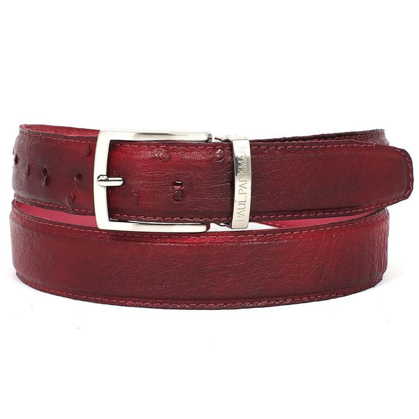 PAUL PARKMAN Men's Burgundy Genuine Ostrich Belt (ID#B04-BUR) - Epethiya