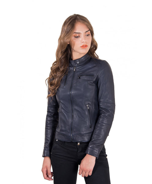 Women's Leather Jacket genuine soft leather korean collar blue color Giulia - Epethiya