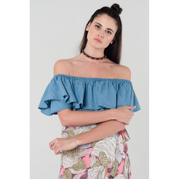 Denim off shoulder ruffle crop top - Epethiya