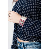 Navy blue printed top