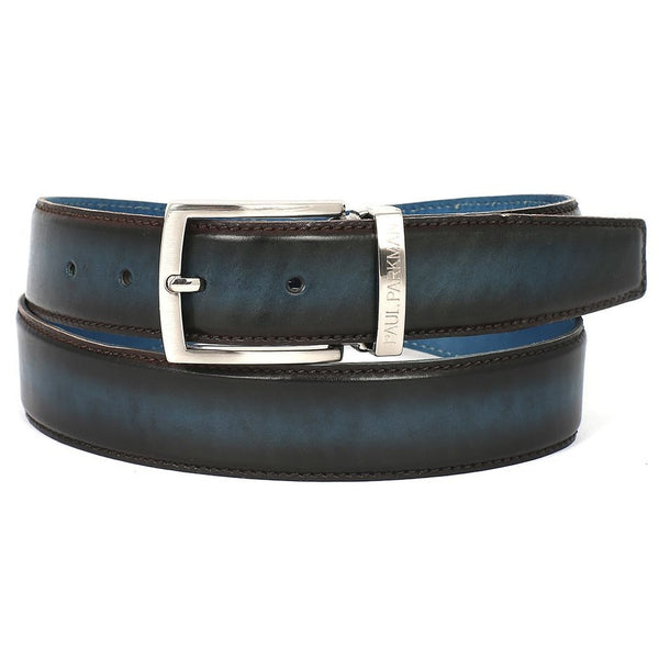 PAUL PARKMAN Men's Leather Belt Dual Tone Brown & Blue (ID#B01-BRW-BLU) - Epethiya