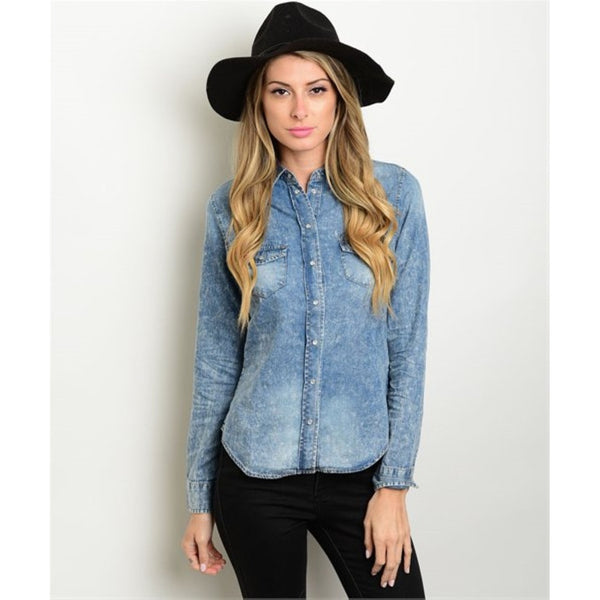 Women's Shirt Denim Button Down Long Sleeve - Epethiya