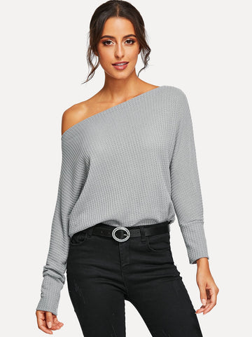 Oblique Shoulder Dolman Sleeve Jumper - Epethiya