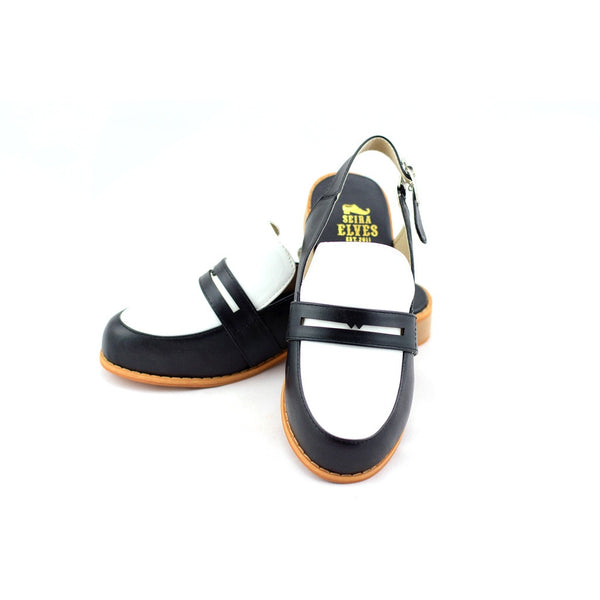 Michelle black masculine penny ball flats