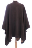 Womens Reversible Fleece Poncho Brown / Camel - Epethiya