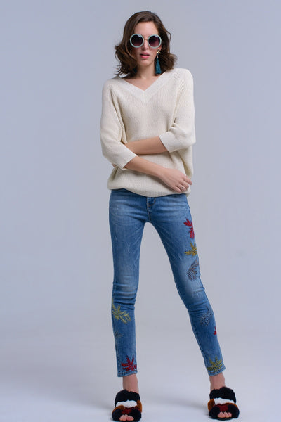 Skinny embroidered jeans - Epethiya
