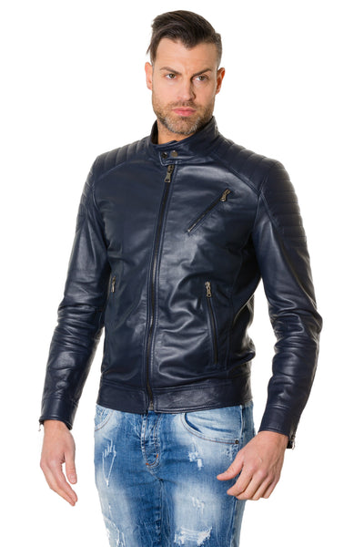 Man Leather Jacket quilted yoke perfecto black color U411 - Epethiya