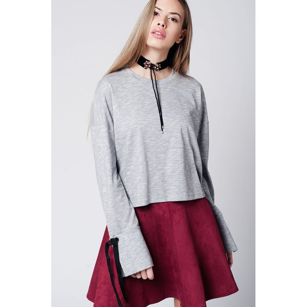 Grey top with bell sleeves and tie detail - Epethiya