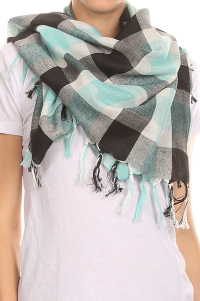 Plaid Blanket Scarf with Fringe - Epethiya