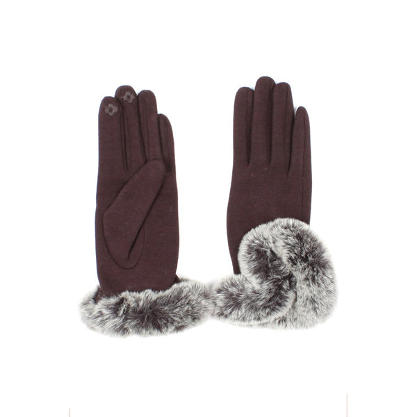Womens Brown Touch Screen Gloves with Faux Fur Cuff - Epethiya