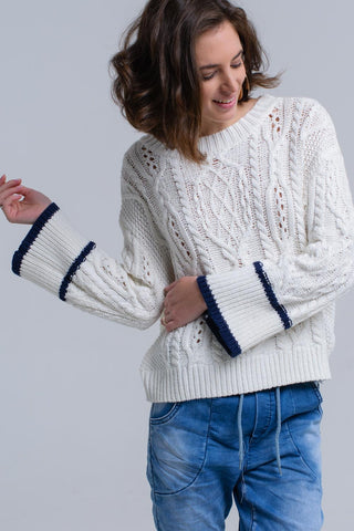 Cream cable sweater with stripe detail - Epethiya