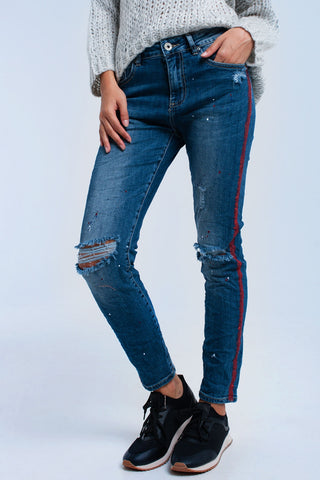 Painted skinny jeans with rips - Epethiya