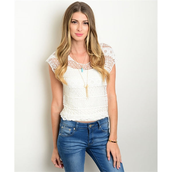 Women's Blouse White Crochet Lace Short Sleeve