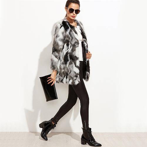 Faux Fur Fuzzy Color Block Open Front Coat - Epethiya