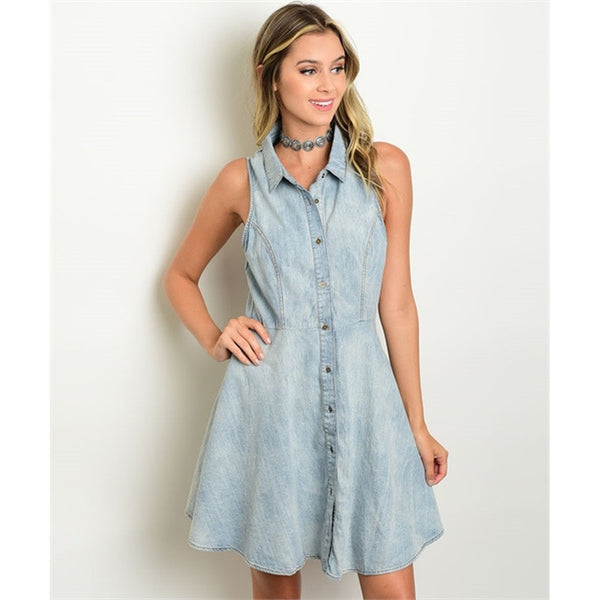 Women's Blue Denim Button Down Dress with collar