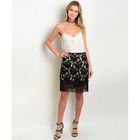 Women's Skirt Tan Lace Fringed Skirt - Epethiya
