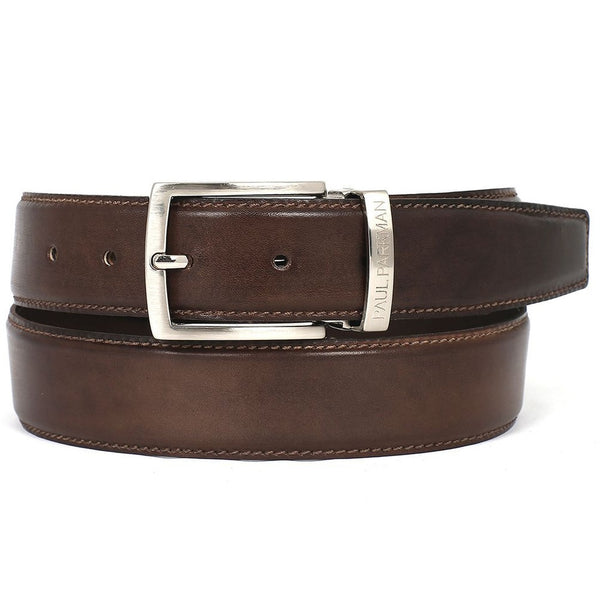 PAUL PARKMAN Men's Leather Belt Hand-Painted Brown (ID#B01-ANTBRW) - Epethiya