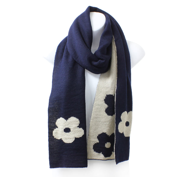 Womens Reversible Flower Knit Rectangle Navy Blue Winter Scarf - Epethiya