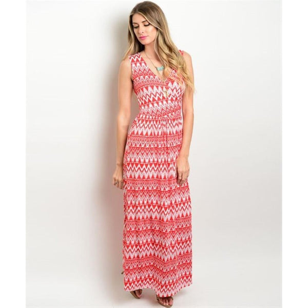 Women's Maxi Dress Red Sleeveless Long Printed Dress - Epethiya