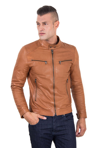 Men's Genuine Leather Biker Jacket tan Color - Epethiya