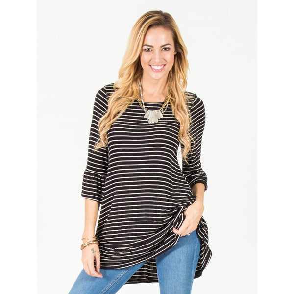 Striped Ruffle Tunic - Black - Epethiya