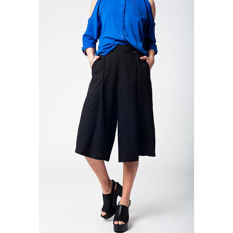 Black pants skirt with silver buttons - Epethiya